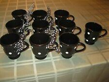 New listing Terramoto/Earthenware Ceramic Mugs 10 Black and White Polka Dot