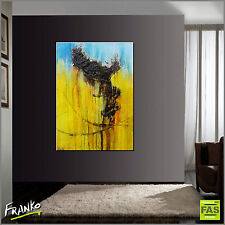 BLUE & YELLOW MODERN ABSTRACT TEXTURE PAINTING 140cm x 100cm Franko Australia