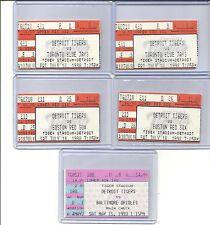 """5"" DETROIT TIGERS TICKET STUBS. @ TIGER STADIUM. VS. RED SOX, JAYS, & ORIOLES."