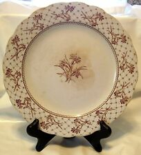 "Antique c1880 Brownfield & Sons England Harvard Brown Transferware 9 1/2"" Plate"