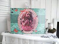 30x40cm Mädchen türkis Nostalgie Canvas Wandbild Bild Romantik shabby chic 939