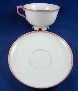 Cute KPM Berlin Porcelain Pink Lady's Cup & Saucer Porzellan Tasse w/ feet Lady