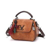Women Tide Genuine Leather Bag Letter Wild Shoulder Tassel Brown Messenger Bags