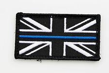 Thin Blue Line Police Small Union Jack Hook Loop Backed Badge Patch