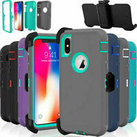 For iPhone 12 Pro 11 Pro X XR Max 6 7 8 Plus Shockproof Case+Case Holster Black
