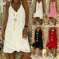 Women Ladies Summer Casual Lace Strappy Dress Loose Beach Sundress Mini Dresses