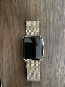 apple watch series 3 42mm watch with Gold Milanese loop band