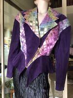 Vtg 80s USA Cache Ladies Jacket Purple Harlequin Peplum S