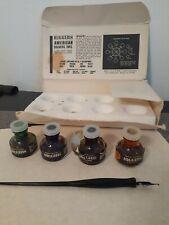 HIGGINS Vintage #4 Scholastic American Drawing Ink unused  and Fountain Pen B-3