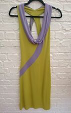 CELINE Paris France Green & Purple Summer Dress Size 38 UK 10 Low Neck Open Back