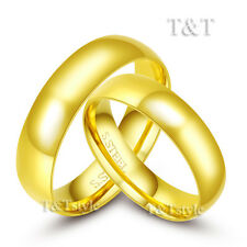 T&T 6mm 14K Gold GP S.Steel Engagement Wedding Band Comfort Fit Ring For Couple