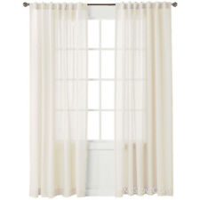 NEW NATE BERKUS Window Treatment Panel Aztec Diamond Curtain Sheer Winter White
