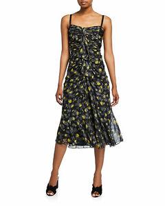 CINQ A SEPT NWT $465 Black Multicolor Margot Floral-Print Shirred Midi Silk Sz 0