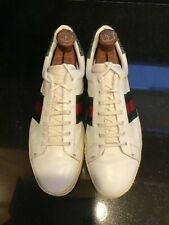 Gucci Men Sneakers - White with Green Lizard - Size 10 - Pre-owned
