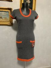 Auth CHANEL HUGE 07A CC logo cashmere knit dress original 36FR S made in UK