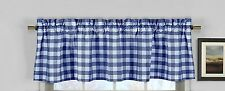 lovemyfabric Gingham Checkered Plaid Design Kitchen Curtain Valance-Royal Blue