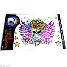 Laptop Notebook Tattoo Sticker Aufkleber - Totenkopf Flügel Crown Stars