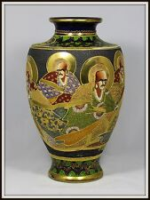 """Exquisite """"Antique Japanese Satsuma Vase of the Eight Immortals"""" (14"""" H x 8"""" W)"""