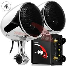 600W Amp Waterproof Bluetooth Motorcycle Stereo Speakers Audio AUX Radio System