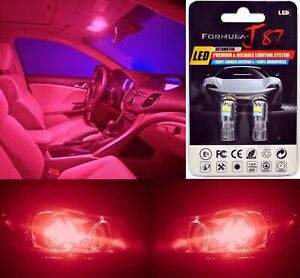 LED 3030 Light Red 194 Two Bulbs License Plate Rear Tag Upgrade OE Philips
