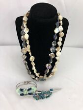 Stunning Necklace Double Strand Abalone Shell Artisan made w/ Bracelet Hair clip