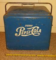 Vintage 1950s Blue DRINK PEPSI COLA Soda Pop Metal Cooler with Tray - Coke