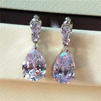 Handmade Pear Cut Earrings White Sapphire 925 Silver Water Drop/Dangle Earrings
