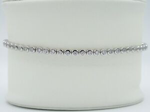 Womens Girls Sterling Silver Round Clear Tennis Bracelet Cubic Zirconia Stones