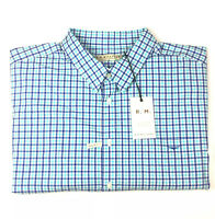 RM Williams Men's Hervey 3XB Short Sleeve Shirt Blue & White Check
