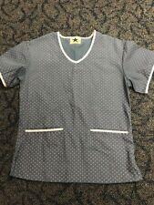 BLACK STAR Women's Dots Nursing Scrub Top Size XS Grayish Blue/Pink PA46