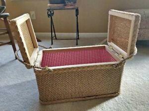 Vintage Redmon Picnic Basket Gingham Lined Rope Handled Wood Wicker Large Clean