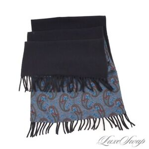 #1 MENSWEAR Reversible 100% Cashmere 100% Silk Navy Floral Paisley Solid Scarf