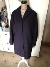 PER UNA Ladies Plum Purple Boiled Wool Blend Classic Knee Length Coat Size 16