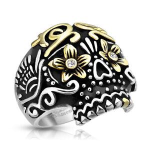 Stainless Steel Gold PDV Skull CZ Ring - 2 Tone Day of the Dead Sugar Skull Ring