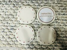 4 Longaberger Pottery Sample Plates In Traditional Red - New