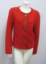 GEIGER COLLECTIONS BOILED WOOL JACKET RED 5 GREAT SILVER METAL BUTTONS SIZE 40