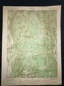 Vintage 1943 USGS Topographical Map of Shutesbury MA - Unfolded