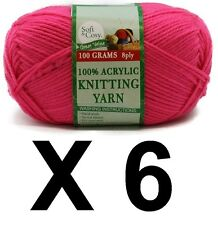 Knitting wool 6 x 100g acrylic yarn 8ply Bright Pink 100% Brand New