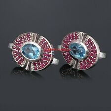 Natural Blue topaz & Ruby Gemstones With 925 Sterling Silver Cufflinks For Men's