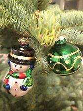 Christmas House Handpainted Blown Glass Snowman And Christmas Ball Ornament Set