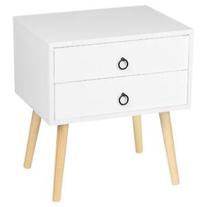 Nachttisch Beistelltisch Nachtschrank mit Schublade mit Beine MDF Weiß TSR69ws