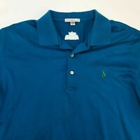 Peter Millar Polo Shirt Men's Size Large Short Sleeve Blue Casual 100% Cotton