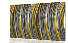 Grey Yellow / Mustard Stripes Modern Abstract Canvas Wall Art Picture Print