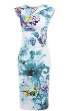 Karen Millen Algodón Estampado Floral Vestido Lápiz Talla 12