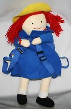 "Madeline School Girl Doll Backpack 20"" Blue Yellow Hat Red Hair Wildkin"