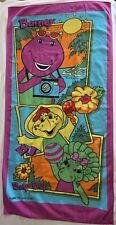 Vintage Barney Purple Dinosaur Baby Bop B.J. Beach Towel The Lyons Group 1998