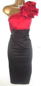 💝STUNNING KAREN MILLEN BLACK & RED CORSAGE EVENING COCKTAIL PARTY DRESS UK 12