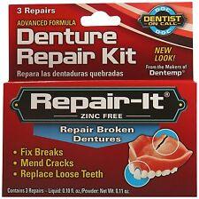 DENTEMP REPAIR-IT EMERGENCY DENTAL REPAIR KIT REPAIR BROKEN CRACKED DENTURES !!