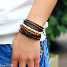 Beads Leather Cuff Bangle Bracelet Usa 10 Lots Unisex Men Women Multilayer Wood