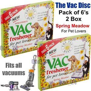 2x 6 PACK Vac Disc Air Freshener SPRING Meadow Vacuum Cleaner Pet Lovers Hoover